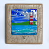 Sea Scene with Light House - Fused Glass in Oak Block Frame with Key Hook