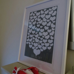 Personalised Heart Wedding Guest Book Alternative -  A3 Print