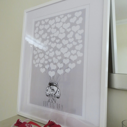 Personalised VW Love Bug Heart Wedding Guest Book Alternative - A3