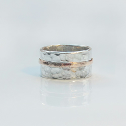 Sterling Silver hammered ring with 9ct Rose Gold stripe
