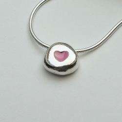 Tiny pale pink heart pebble necklace