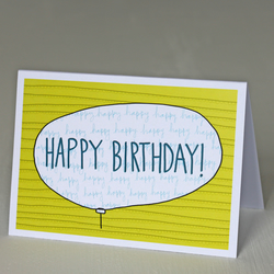'Happy Birthday' Yellow Balloon A6 Greetings Card