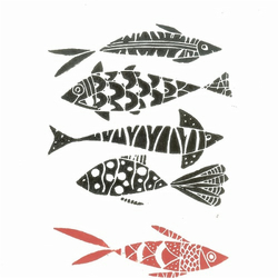 Fishes Linocut -  Black and Red ,Modern Hand Printed Lino Print