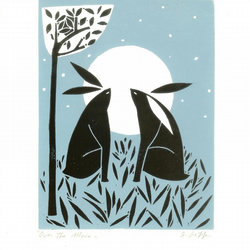 Hares and  Moon Lino Print Love Gift - Positive Happy Image - Original Linocut