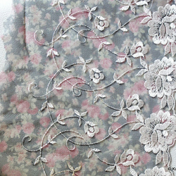 Grey And Pink Soft Net Lace Trim with White Embroidered Flowers 7 inches wide