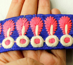 Blue Fabric Trim With Pink And White Embroidery, Approx. 40mm wide
