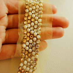 Gold Net With White Pearls, White And Gold Rhinestones,  Trim Approx 45mm wide