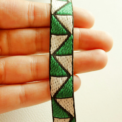 Green And White Thread Cotton Lace Trim, Approx. 15mm wide