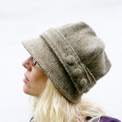 Harris Tweed Cloche Hat - Green Beige
