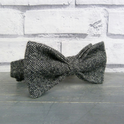 Mens Bow Tie - Black Grey Tweed
