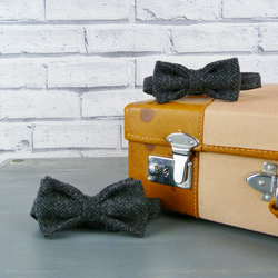 Father and Son Yorkshire Tweed bow tie set - Charcoal Herringbone