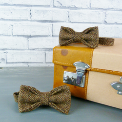 Father and Son Yorkshire Tweed bow tie set - Brown Herringbone