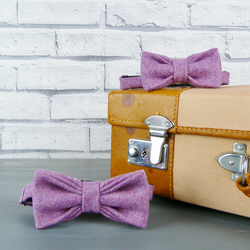 Father and Son Yorkshire Tweed bow tie set - Dusky Pink Twill
