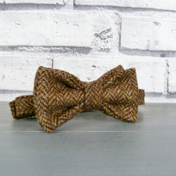 Boys Bow Tie - Brown Yorkshire Herringbone Tweed