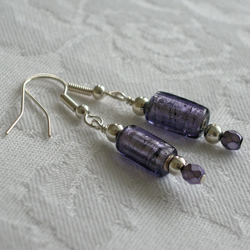 Tanzanite Murano glass earrings