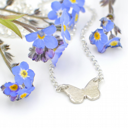 Tiny Reversible Sterling Silver Butterfly Necklace
