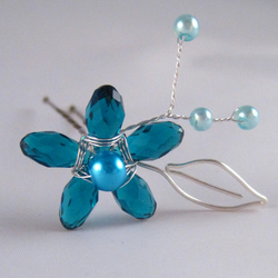 Teal Crystal Flower Bobby Pin