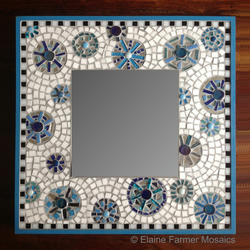 Turquoise Large Square Mosaic Mirror