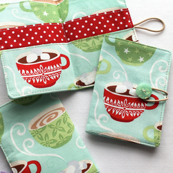 Winter mugs travel teabag wallet, tea bag holder - perfect stocking filler