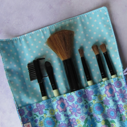 makeup brush roll  'seventies chic'  brushes  folksy