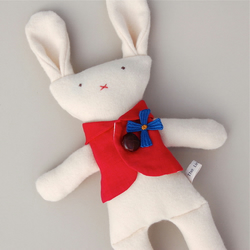 Cream Cashmere Bunny in Red Waistcoat