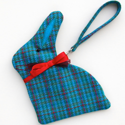 Blue Tweed Bunny Purse