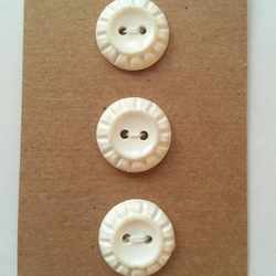 Set of 3 White Vintage Buttons