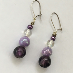 Purple, Lilac & Iridescent Drop Earrings