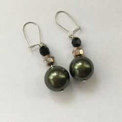 Dark Green, Black & Gold Drop Earrings