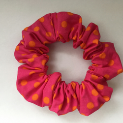 Pink and Orange Polka Dot Hair Scrunchie