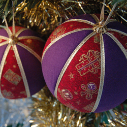 Christmas Bauble hanging decoration in purple, red and gold