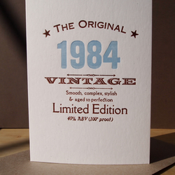 Thirties 1984 letterpress birthday card