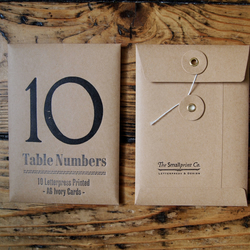 Letterpress wedding table numbers x10