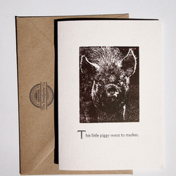 This Little Piggy woodcut letterpress card