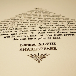 Shakespeare's Sonnet 48 letterpress print, a perfect literary gift