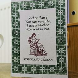 Reading With Mother Birthday or Mothers Day letterpress card