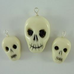 Polymer Clay Skull Beads for Necklace and Earrings Glow in the Dark