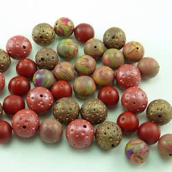 Rustic and Russet Polymer Clay Beads - bumper set