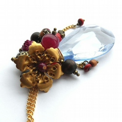 Brass flower and berries necklace
