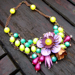 Necklace-vintage enamel flowers