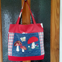 Recycled Toadstool Bag, Upcycled Denim Shopping Bag, Mothers Day Gift