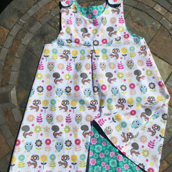 Age 4 years Reversible Handmade cotton dress with forest animals and flowers