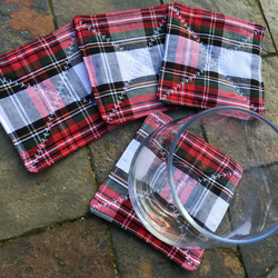 Tartan Quilted coaster - set of 4