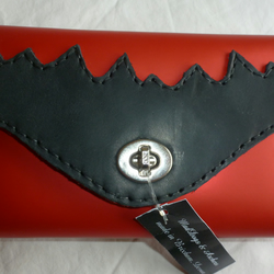 SALE! SALE! Metallic red leather clutch