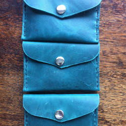 Handmade Green leather slimline front pocket wallet