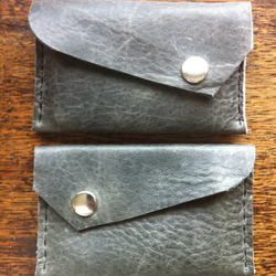 Minimalist front pocket leather charcoal grey black wallet