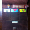 Hand sewn extra large leather paintbrush, notebook, credit card case