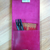 Slimline pink leather pencil case