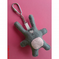 Grey and Pink Bunny Plushie Keyring