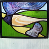 Butterfly and The Windswept Tree, Stained Glass Panel